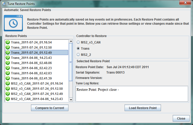 TunerStudio Restore Point Dialog